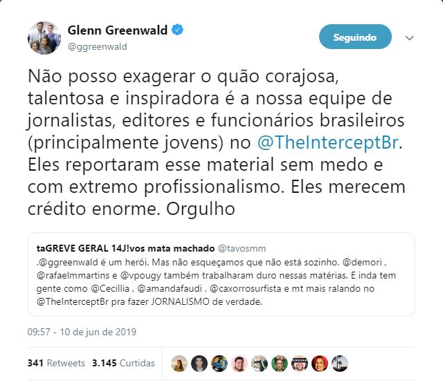 Publicação do twitter de Glenn