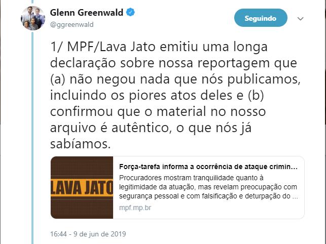 Publicação no Twitter de Glenn